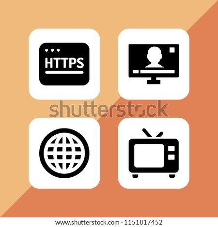wide icon. 4 wide set with world wide web, http, tv and television vector icons for web and mobile app