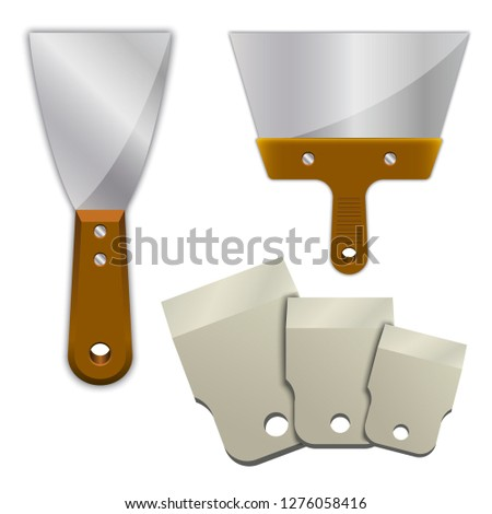 wide putty knife on a white