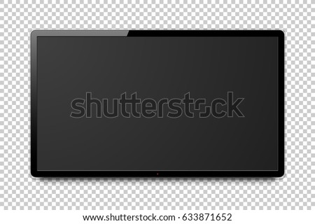 Wide realistic 4k TV screen. Modern smart television, blank lcd panel, led computer monitor mock-up on transparent background, vector illustration.