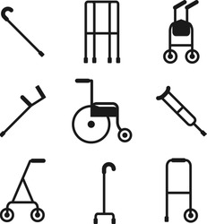 Wide variety of walkers for patients to use to assist them with their mobility. Disabled access. Special needs disabled person.