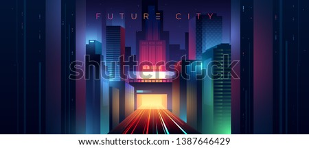Wide view of the night neon futuristic city. Highway with traffic car lights. Ciberpunk style illustration