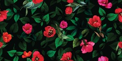 Wide vintage floral seamless background pattern. Beauty tulips with leaf on dark green behind. Abstract, hand drawn, vector - stock.