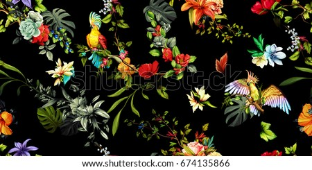 Wide vintage seamless background pattern. Parrots cockatoo on the tropical branches with leaves and flowers on dark. Abstract, hand drawn, vector - stock.