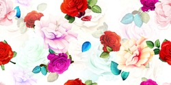 Wide vintage seamless background pattern.Red and pink roses with leaf on white. Abstract, hand drawn, vector - stock.
