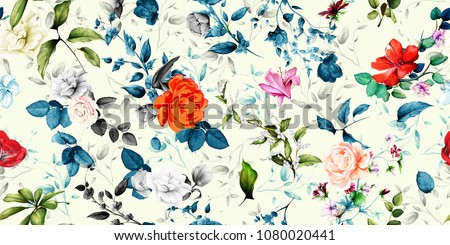 Wide vintage seamless background pattern. Rose, magnolia, peony, wild flowers with leaf on blue and pastel. Abstract, hand drawn, vector - stock.