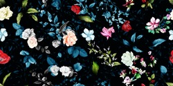 Wide vintage seamless background pattern. Rose, magnolia, peony, wild flowers with leaf on dark blue and black. Abstract, hand drawn, vector - stock.