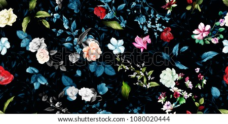 stock-vector-wide-vintage-seamless-background-pattern-rose-magnolia-peony-wild-flowers-with-leaf-on-dark