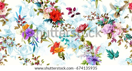 Wide vintage seamless background pattern. Rose, poppy, wild flowers with nightingales and leaf. Abstract, hand drawn, vector - stock. #674135935