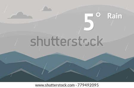 Widget of rain cloudy weather vector background. Interface design illustration.
