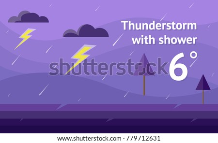 Widget of thunderstorm with shower vector background. Interface design illustration.