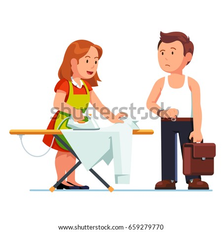 Wife ironing shirt for her husband using iron and board. Housewife woman in apron doing housework, business man speeding her waiting and watching time. Flat style vector illustration isolated on white