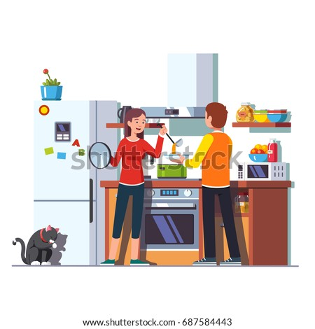 Wife pouring freshly cooked soup with ladle into bowl that husband is holding. Woman feeding man. Family couple at home kitchen with cooktop, oven, range, microwave, fridge. Flat vector illustration.