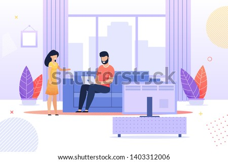 Wife Talking to Busy Husband Flat Cartoon. Man Sitting on Sofa and Working with Laptop in Living Room at Home. Married Couple Relationship. Prioritization. Relationship and Job. Vector Illustration