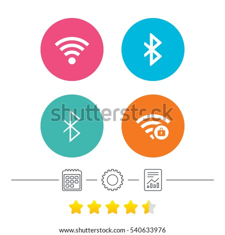 Wifi and Bluetooth icons. Wireless mobile network symbols. Password protected Wi-fi zone. Data transfer sign. Calendar, cogwheel and report linear icons. Star vote ranking. Vector