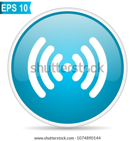Wifi blue glossy round vector icon in eps 10. Editable modern design internet button on white background.