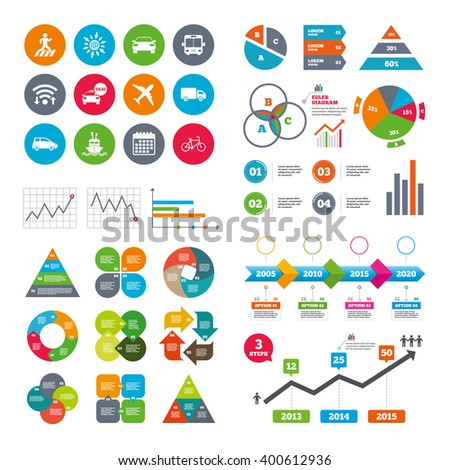 Wifi, calendar and web icons. Transport icons. Car, bike, bus and taxi signs. Shipping delivery, pedestrian crossing symbols. Diagram charts design.
