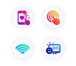 Wifi, Click and Heart rating icons simple set. Button with halftone dots. Smile sign. Wi-fi internet, Cursor pointer, Phone feedback. Positive feedback. Technology set. Gradient flat wifi icon. Vector