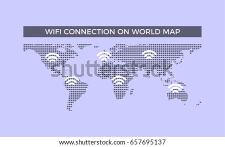Abstract world map made with network lines download free vector wifi connection on world map world map made from dots gumiabroncs Choice Image