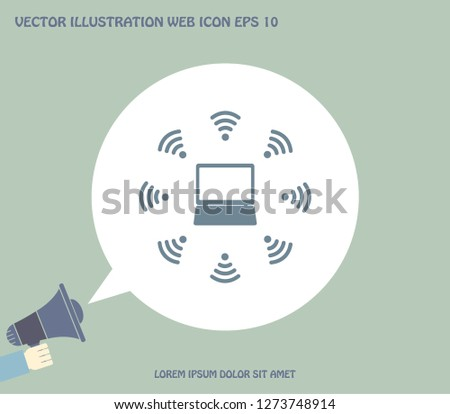 WiFi icon around the computer