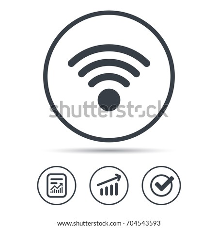 Wifi icon. Wireless internet sign. Communication technology symbol. Report document, Graph chart and Check signs. Circle web buttons. Vector