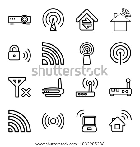 Wifi icons. set of 16 editable outline wifi icons such as home connection, signal, wi-fi, router, security lock, laptop signal