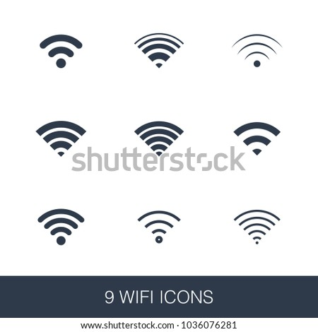 Wifi icons set. Simple design glyph signs. Wifi symbol template. Universal style icon, can be used for web and mobile UI