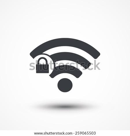 Wifi locked sign. Password Wi-fi symbol. Wireless Network icon. Wifi zone. Flat design style icon