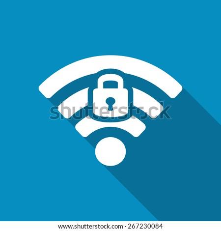 Wifi locked sign. Password Wi-fi symbol. Wireless Network icon. Wifi zone. Flat design style icon.