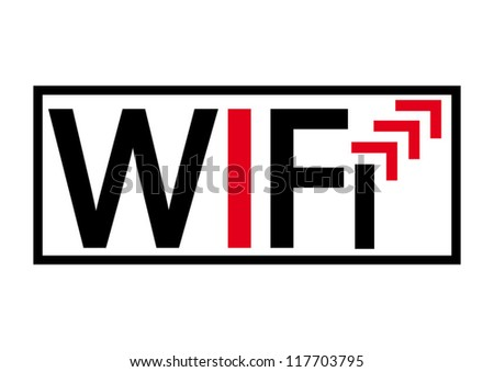 Wifi modern black and red concept sign