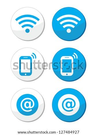 Wifi network, internet zone blue labels set - vector