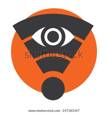 Wifi network privacy protection sign. Vector icon.