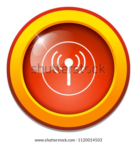 wifi sign - satellite tv or radio antenna aerial illustration, communication tower - telecommunications icon