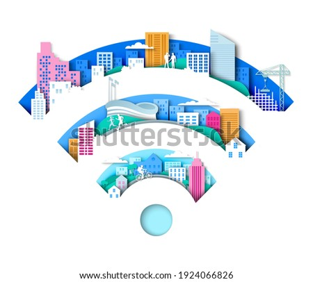 Wifi sign with city elements. Vector illustration in paper art style. Wifi intelligent city. Wireless internet connection technology.