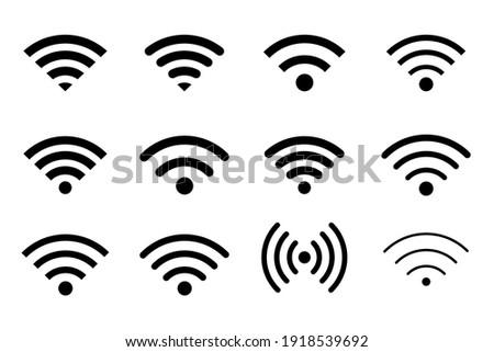 Wifi Signal Icon. Wifi Signal Symbol. Free WiFi black color network symbol for public zon or mobile interface.