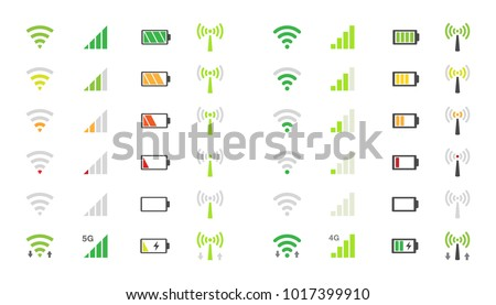 wifi signal icons, battery energy charge, mobile signal level icon