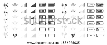 Wifi signal level. Battery charge black sign, mobile network and antenna status internet indicator wireless loading, system power timely completion pictogram, vector isolated on white background icons