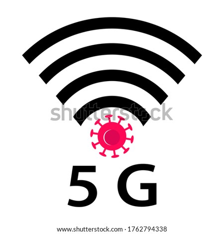 Wifi Signals and Covid-19 conspiracy. Vector Icon design of coronavirus 5g zone concept on white background. Conspiracy theorists attacked 5G cell towers to save from coronavirus. Virus and Internet. Foto stock ©