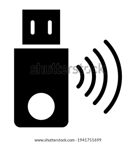 Wifi signals with pend rive, smart usb icon Photo stock ©