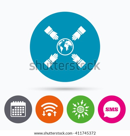 wifi  sms and calendar icons