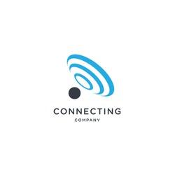 wifi sound signal connection, sound radio wave logo symbol. vector illustration isolated on white background