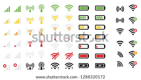 Wifi Wireless network area zone Mobile phone system icon icons signal strength battery charge level energy charge mobile signal level vector symbol sign remote access wave waves radio Gadgets Offline