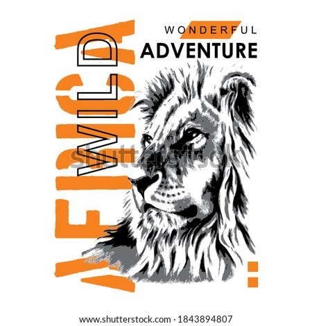 wild africa slogan with lion silhouette illustration, typography - vector Foto stock ©