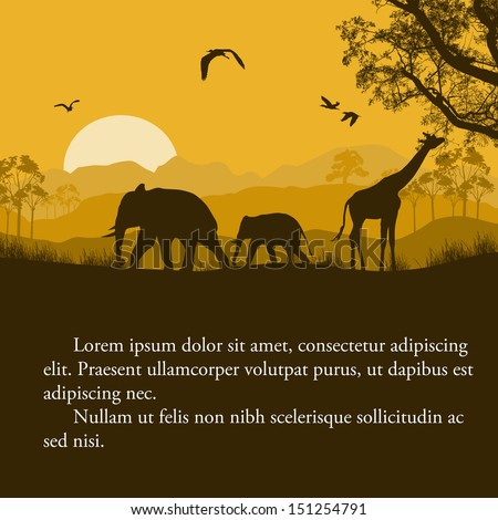 Wild african animals silhouettes in beautiful sunset design with space for your text, vector illustration
