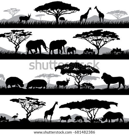 Wild african life. Background silhouettes of different animals and trees. Animal african wild black silhouette illustration