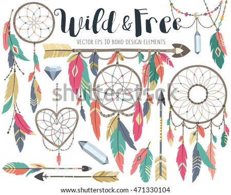 Wild and Free Boho Tribal Vector Design Elements