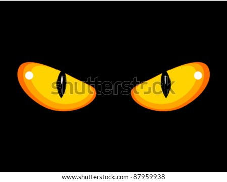 wild angry cat eyes in darkness