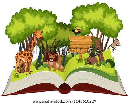Wild animal and jungle theme pop up book illustration