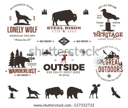 Wild animal badges set and great outdoors activity insignias. Retro illustration of animal badges. Typography camping style. Vector badges logos with letterpress effect. Custom explorer quotes