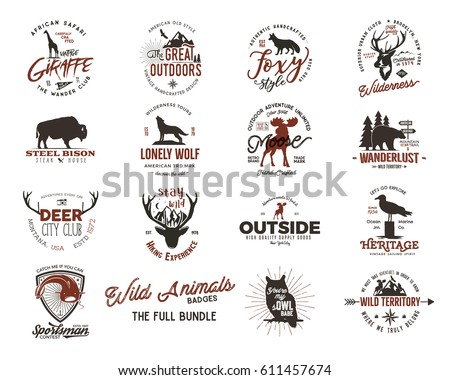 Wild animal Badges set and great outdoors activity insignias. Retro illustration of animal badges. Typographic camping style. Vector Animal badges logos with letterpress effect. Custom explorer quotes