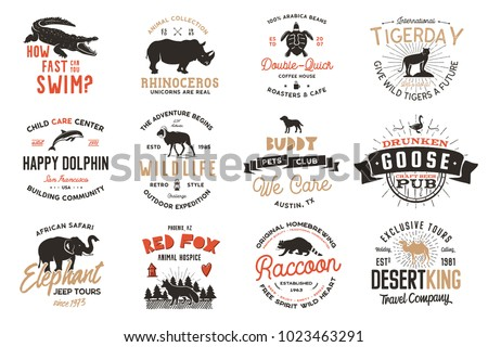 Wild animal Badges set and great outdoors activity insignias. Retro illustrations. Typographic camping style. Vector logos with letterpress effect. Explorer quotes.